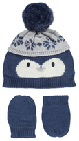 George Knitted Penguin Hat and Mittens Set