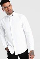 boohoo Mens White Long Sleeve Skull Embroidered Collar Shirt, White