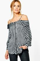 Boohoo Emily Striped Open Shoulder Shirt