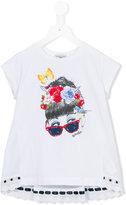 MonnaLisa embellished sunglass face print T-shirt - kids - Cotton/Spandex/Elastane - 2 yrs