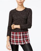 Sanctuary Rock House Plaid-Contrast Sweater