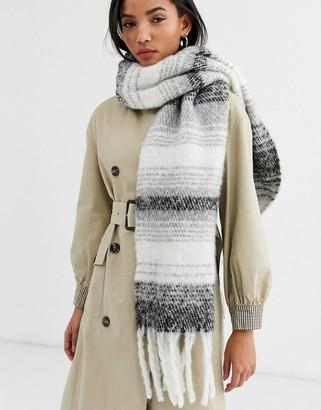 Accessorize fluffy blanket scarf in gray ombre stripe
