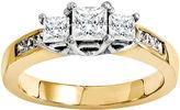 MODERN BRIDE 3/8 CT. T.W. Diamond 14K Gold 3-Stone Ring