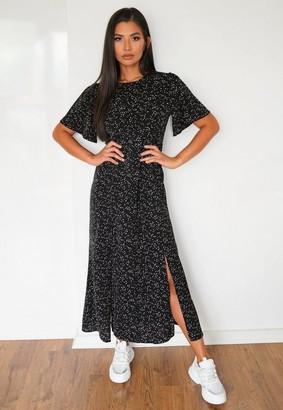 Missguided Black Polka Dot Flutter Sleeve Midi Dress