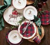 Pottery Barn Landon Plaid Rim Dinner Plate, Set of 4