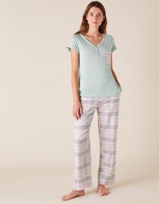 Monsoon Check Print Jersey Pyjama Top Green