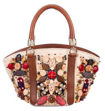 Oscar de la Renta Embellished Canvas Small Tote