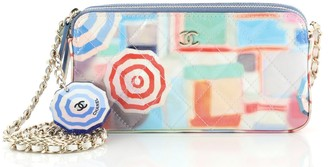 Chanel Double Zip Clutch with Chain Quilted Printed Patent
