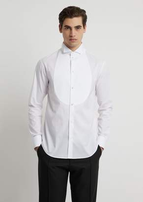 Emporio Armani Cotton Pique Shirt With Bib Front And Wing Collar