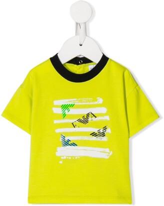 Emporio Armani Kids short sleeve painted logo effect T-shirt