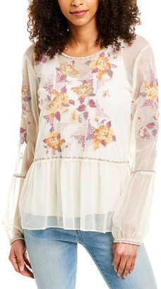 Johnny Was Skyler Embroidered Mesh Top