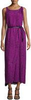 Halston Sleeveless Faux-Wrap Maxi Dress, Purple