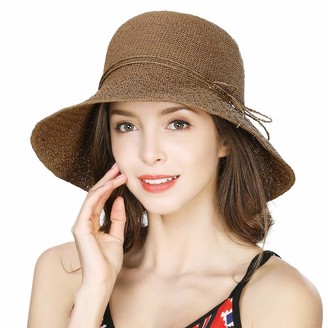 Comhats Womens Straw Sun Hat UV Protection Wide Brimmed Beach Hat Floppy Packable Summer Gardening Bucket Hat Adjustable Coffee Brown