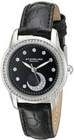 Stuhrling Original Women's Quartz Watch with Black Dial Analogue Display and Black Leather Strap 561.02