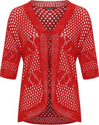 F4s New Womens Plus Size Knitted Bead Front Tie Bolero Cardigan Ladies Short Sleeve Open Knit Stretch Shrug Top Sizes S - XL (12-14 (S/M)