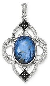 Armenta Sterling Silver New World Champagne Diamonds, Blue Pietersite & White Quartz Pendant