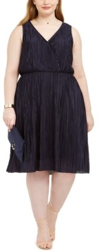 Love Squared Trendy Plus Size Pleated Surplice Dress