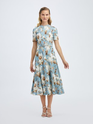 Oscar de la Renta Daisy and Vine Crepe Short Sleeve Midi Dress