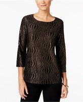 JM Collection Petite Metallic Jacquard Top, Only at Macy's