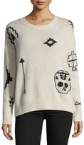 360 Sweater 360Sweater Xandra Crewneck Long-Sleeve Printed Cashmere Sweater