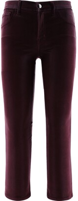 J Brand Selena Mid-Rise Cropped Boot Cut Coated Jeans
