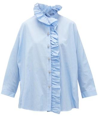 Romance Was Born Queen's Consort Crystal-button Cotton Blouse - Womens - Blue White
