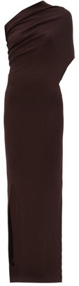 Rick Owens One-shoulder Asymmetric Ribbed Wool Maxi Dress - Brown