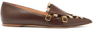 Rupert Sanderson Niwin Point-toe Leather And Pony Hair Monk Flats - Burgundy Multi