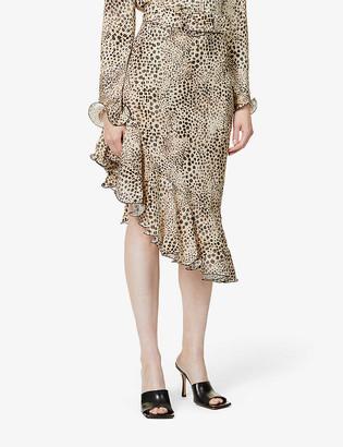 ART DEALER Samantha leopard-print stretch-silk skirt