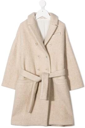 BRUNELLO CUCINELLI KIDS Double-Breasted Wool Coat