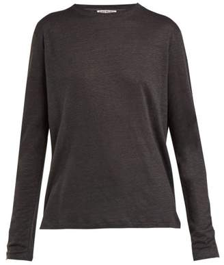 Acne Studios Taline Long Sleeved Linen T Shirt - Womens - Dark Grey