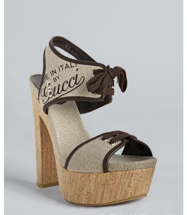 Gucci natural canvas and leather 'Winona' cork platform sandals