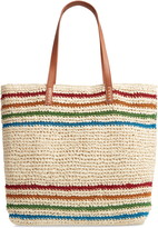 Nordstrom Metallic Stripe Straw Packable Woven Tote