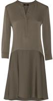 Theory Carstan Silk Crepe De Chine Mini Dress - Army green