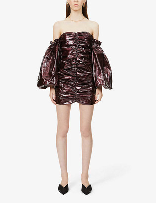 Rotate by Birger Christensen Phoebe off-the-shoulder ruched faux-leather mini dress