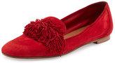 Aquazzura Wild Suede Fringe Loafer Flat, Red
