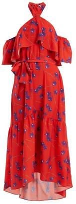 Borgo de Nor Josephine Off-the-shoulder Crepe Dress - Red Print