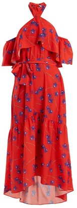 Borgo de Nor Josephine Off-the-shoulder Crepe Dress - Womens - Red Print