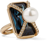 Oscar de la Renta Gold-plated, Swarovski Crystal And Faux Pearl Ring - one size