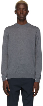 BOSS Grey Bjarno Mock Neck Sweater