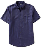 Murano San Francisco Collection Short-Sleeve Slim-Fit Pocket Button-Down Dot Dobby Shirt