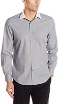 Perry Ellis Men's Small Grid with Contrast White Collar Shirt