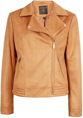 Dorothy Perkins Womens Tan Suedette Biker Jacket