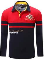 Tortor 1Bacha Men's Contrast Color Long Sleeve Polo Shirt Navy Blue Red
