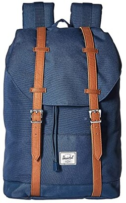 Herschel Retreat Mid-Volume (Black/Tan Synthetic Leather) Backpack Bags