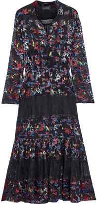 Saloni Alyssa Lace-paneled Floral-print Burnout Satin Midi Dress