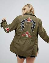 Maison Scotch Army Jacket With Embroidered Artwork And Quilted Lining