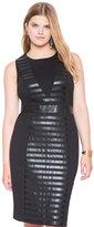 ELOQUII Plus Size Ponte Faux Leather Mix Dress