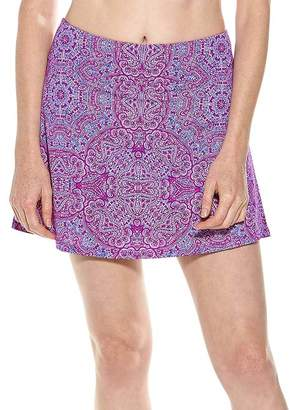 Coolibar Women's Bikini Bottoms - Violet Bold Mosaic Swim Skort - Women