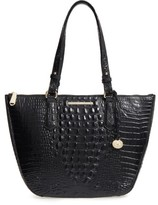 Brahmin Willa Croc Embossed Leather Tote - Black